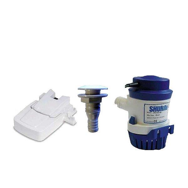 Kit 01 Automático p/ bomba Shurflo + Bomba Shurflo 500 GPH + Saída d'água em PVC 3/4.