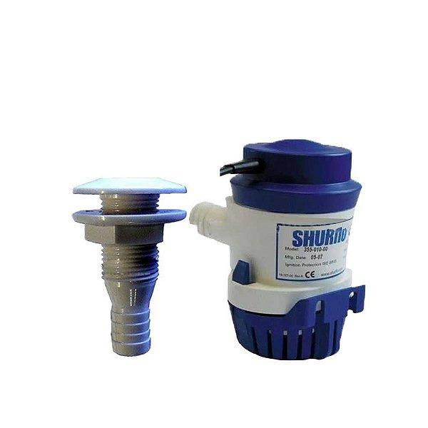 Kit 01 Bomba Porão Shurflo 1000 GPH + Saída d'água PVC 3/4