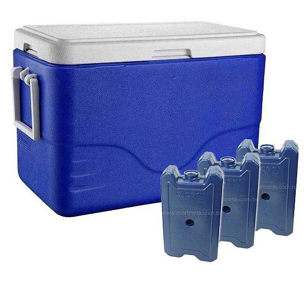 Kit 1X Caixa térmica Coleman 26,4L-Azul e 3X Gelo Artificial