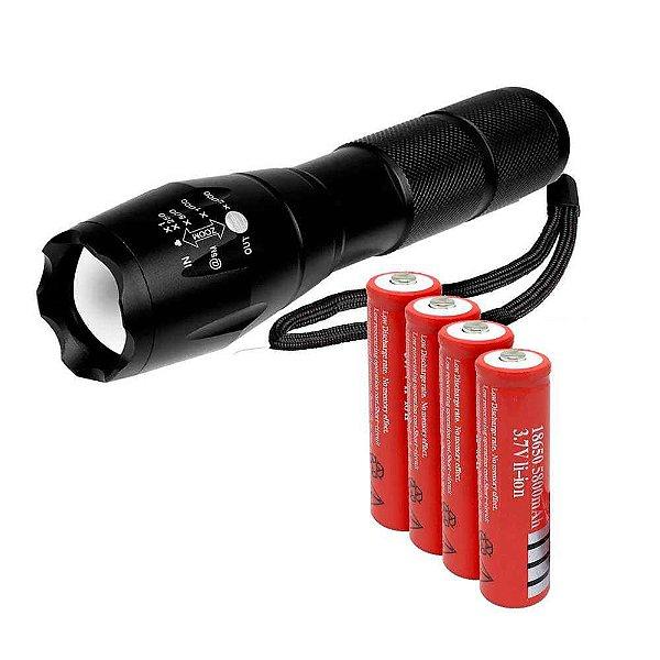 Kit 1X Lanterna Tática Militar Martinelli + 4X Bateria 18650