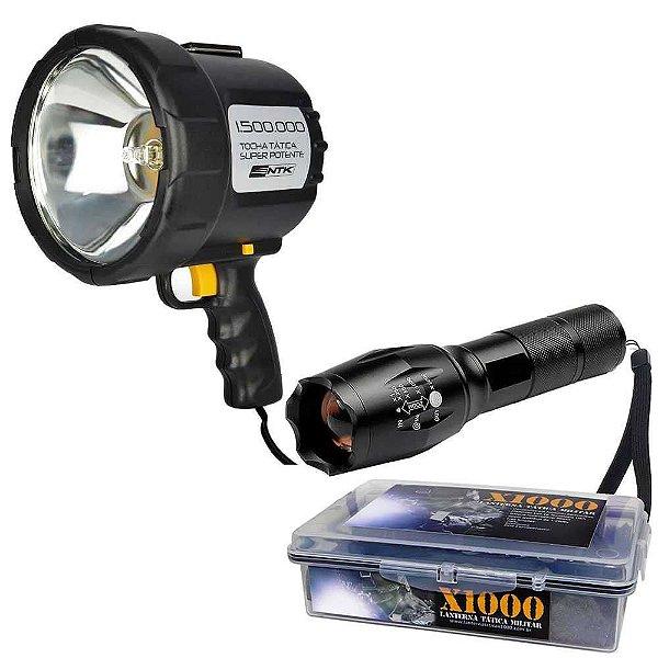 Kit 1X Refletor Holofote Nauti Tocha 12v e 1X Lanterna X1000