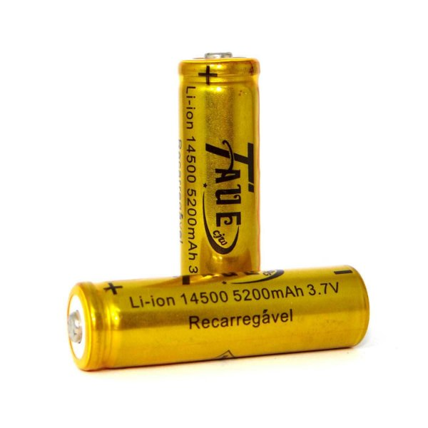 Kit 2 Baterias Recarregáveis Li-ion 14500 5200 mah 3,7 V