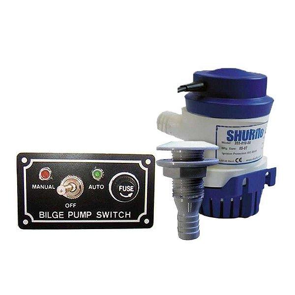 Kit Bomba de Porão Shurflo 500 GPH + Saída d'água + Chave 12V p/ bomba