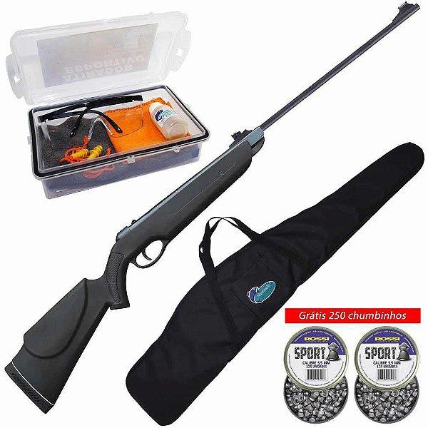 Kit Carabina de pressão Rossi Nova Dione 5,5mm + Grátis 250 chumbinhos + Kit Atirador Esportivo + Bolsa p/ Carabina
