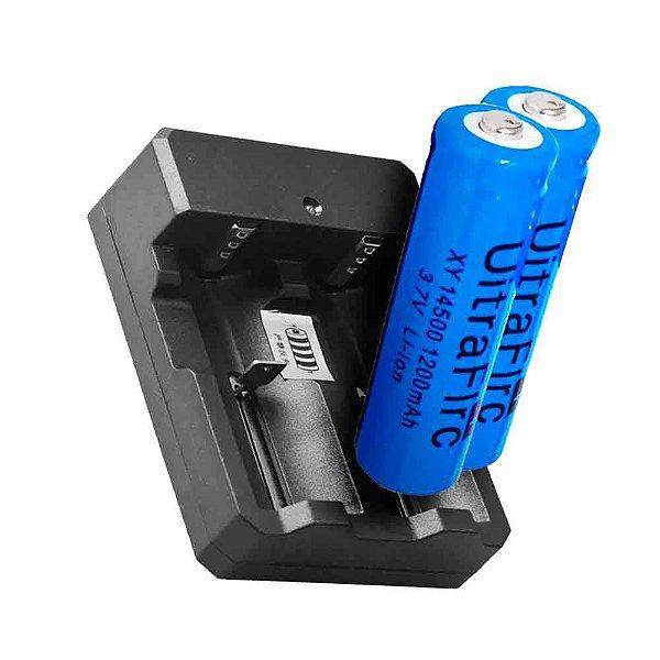 Kit Carregador Duplo p/ Bateria 14500 + 2X Bateria 14500