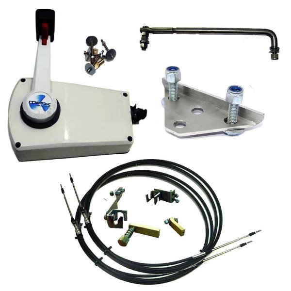 Kit de adaptação motor Jonhson 25 HP manual para comando a distância, completo com cabo de comando 14 pés.