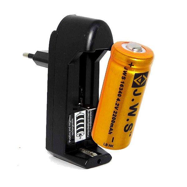Kit de Carregador + 1 Bateria Recarregável 16340 JWS 4.2v 2200mah