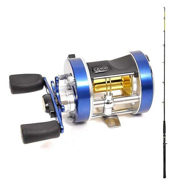 Kit de pesca Carretilha Marine Sports Caster 400 Esq + Vara Laguna 40LB