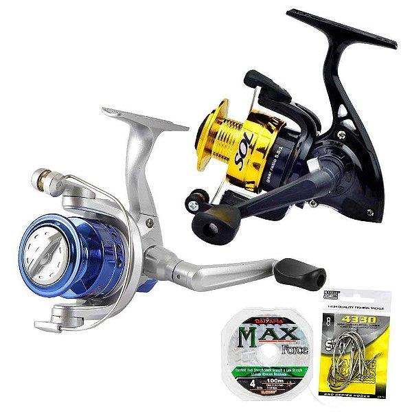 Kit de Pesca: Molinete Marine Sports Sol 100 já com linha+ Molinete Marine Sports Star 3+ Anzol+ Linha brinde