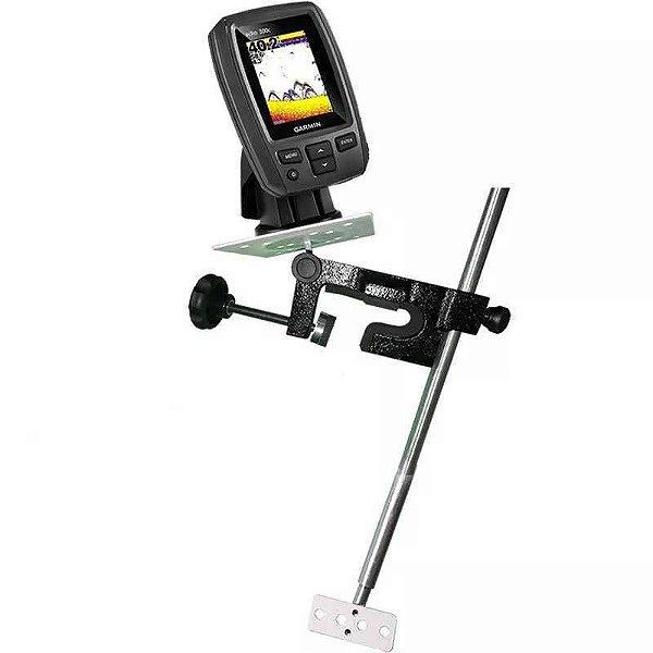 Kit de Sonar Humminbird Piranha Max 4 410150-1 + Suporte de Sonar portátil Duo para borda e sensor (transducer)