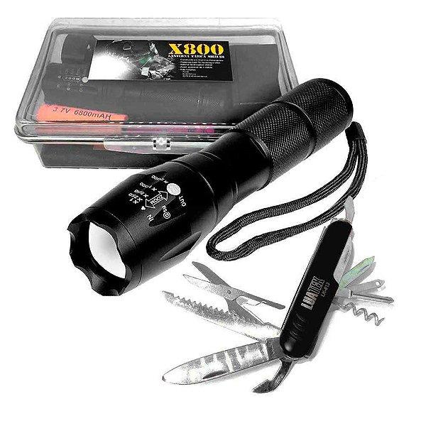 Kit Lanterna Tatica + Canivete 11 funções suiço