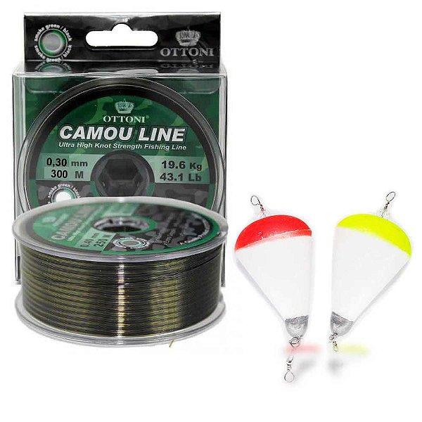 Kit Linha Mono Camou Line 0,30mm 300m+Boia de arremesso N11