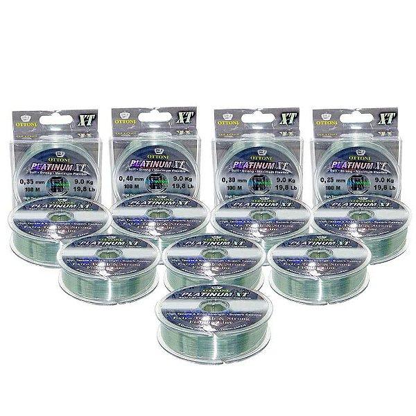 Kit Linha Monofilamento Platinum XT - 0,25,0,30,0,35,0,40mm