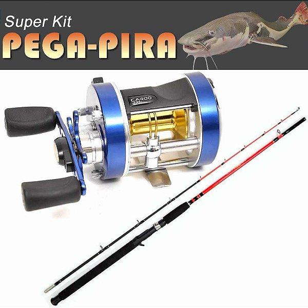Kit Pega-Pira - Carretilha MS Caster 400 Esquerda c/ Vara 2,1 m 30-60 lbs 2 partes