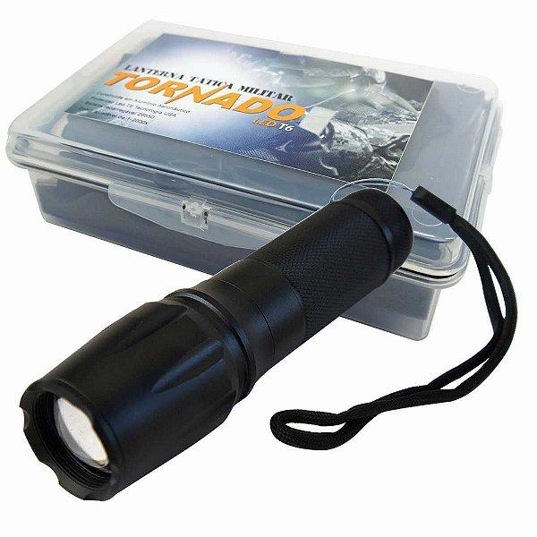 Lanterna Tática Militar LED T6 Tornado Recarregável + Case Especial + Bateria Recarregável Exta