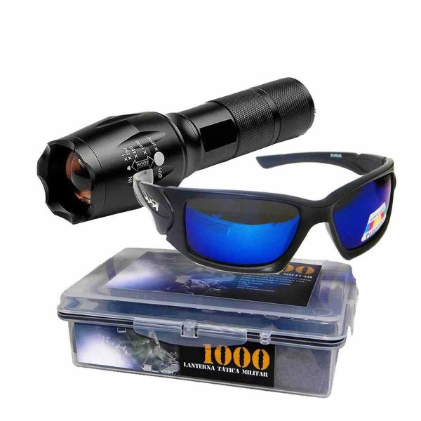 Lanterna Tática Militar Martinelli 1000 T6+ Óculos Maruri Polarizado