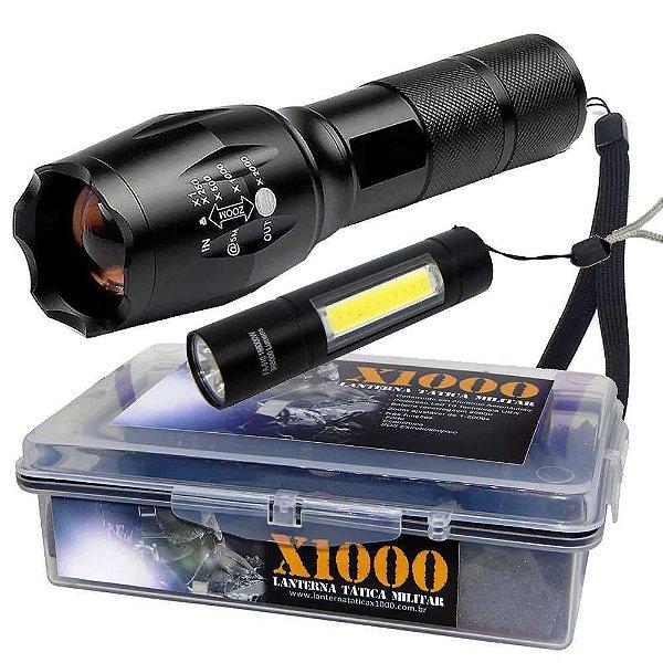 Lanterna Tática X1000 T6+ Estojo+ Mini Lanterna lampião USB