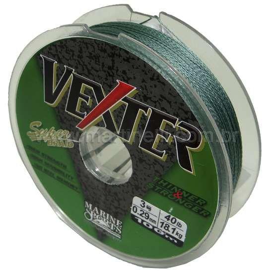 Linha Marine Sports Vexter Super Braid Multifilamento 0,40mm 60LB carretéis com 100m contínuos - Cor: Verde