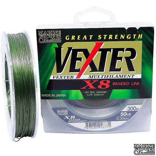 Linha Marine Sports Vexter X8 Multifilamento 50 LB - 0,35mm 8 fios - 300m - Verde