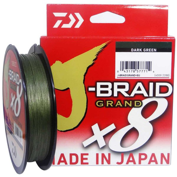 Linha multifilamento Daiwa J-braid Gr X8 Darkgreen 135m 0,23mm 20lb