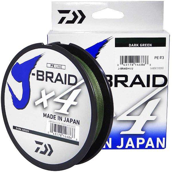 Linha Multifilamento Daiwa J-Braid X4U 0,21 mm 20 lb 270m - verde