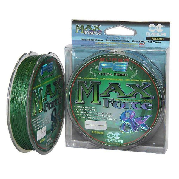 Linha multifilamento Maruri Max Force 8x 150m 0,27mm 30lb 13,6kg - verde