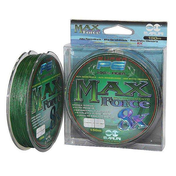 Linha multifilamento Maruri Max Force 8x 150m 0,40mm 107lb 48,6kg - verde