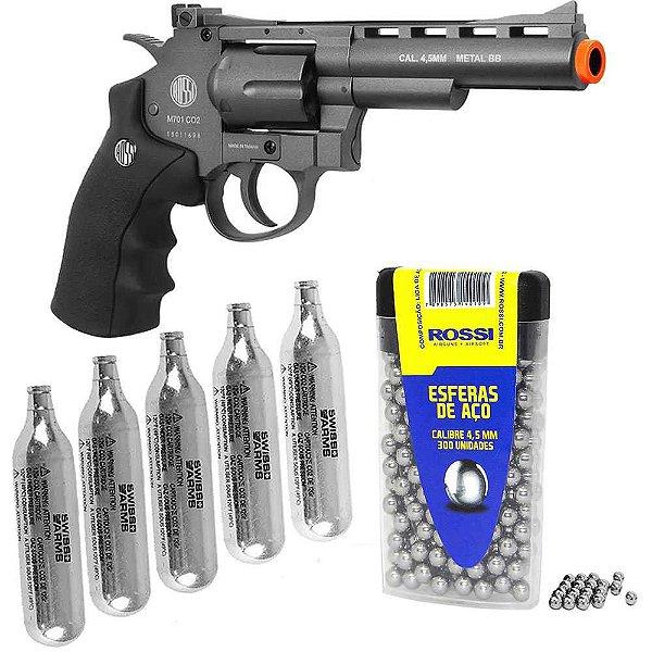 Revolver Pressão Wingun + CO2 12g + Esferas 4,5mm c/ 300 un