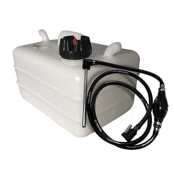 Tanque de combustível 12 litros + Mangueira completa Yamaha/Mercury Americano com conector/bulbo/pescador do tanque.