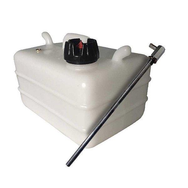 Tanque de combustível 12 litros + Pescador de gasolina fixo em alumínio.