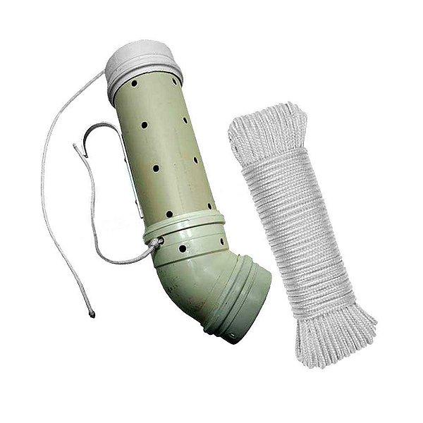 Tratador (cevador) PVC Grande 4 polegadas CURVO... + Corda trançada PP branca 6mm c/ 15m...