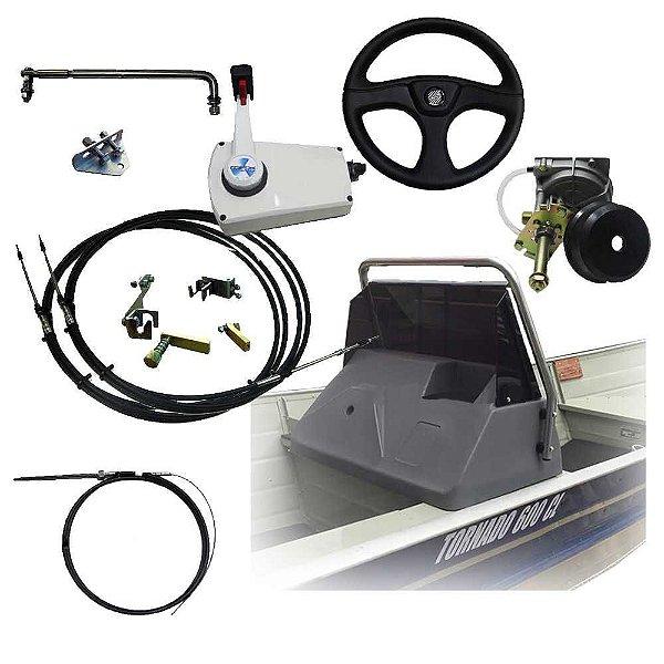 Kit lancha para Yamaha 25 HP e barco de 6 metros - Painel de polietileno com base + sistema de direção completo + comando lateral c/ kit e cabos