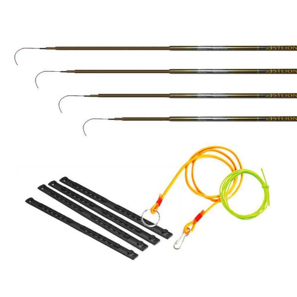 Vara Maruri Telescópica Asteion 4 peças 3,00m a 4,20m + 4 Enrolador Salva-varas + Cabresto