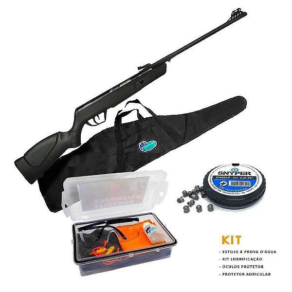Carabina de pressão CBC JADE Preta Cal 5,5mm+ Kit Atirador Esportivo+ Bolsa+ Chumbinho