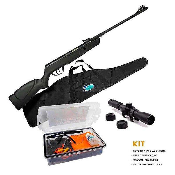 Carabina de pressão CBC JADE Preta 5,5mm + Luneta + Bolsa+ Kit Atirador Esportivo
