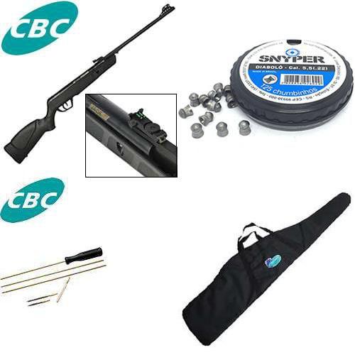 Carabina de pressão CBC JADE Preta - Cal 5,5mm + Bolsa para Carabina + Chumbinho Diabolô Snyper 5,5mm + Kit de limpeza CBC para carabina de pressão 5,5mm