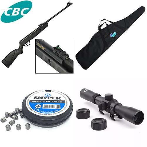 Carabina de pressão CBC JADE Preta - Cal 5,5mm + Luneta Mira 4x20 + Bolsa para Carabina + Chumbinho Diabolô Snyper 5,5mm