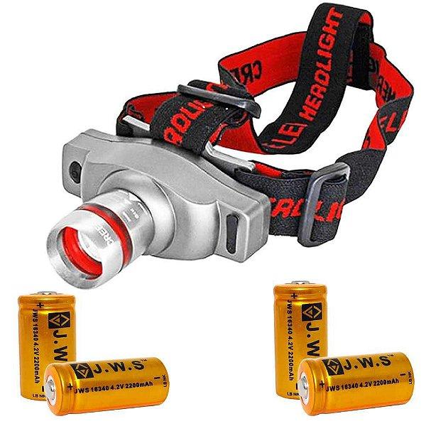 Kit 2X Lanterna De Cabeça T6 Led Cree  e 4X Bateria 16340