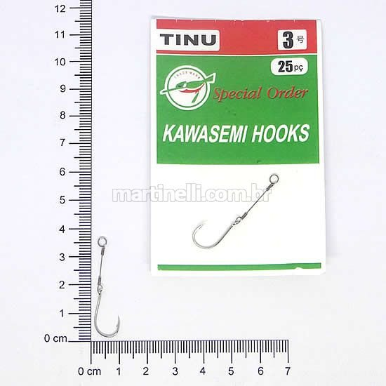 Anzol Encastoado Kawasemi Tinu Nickel 03 com 25 unidades.