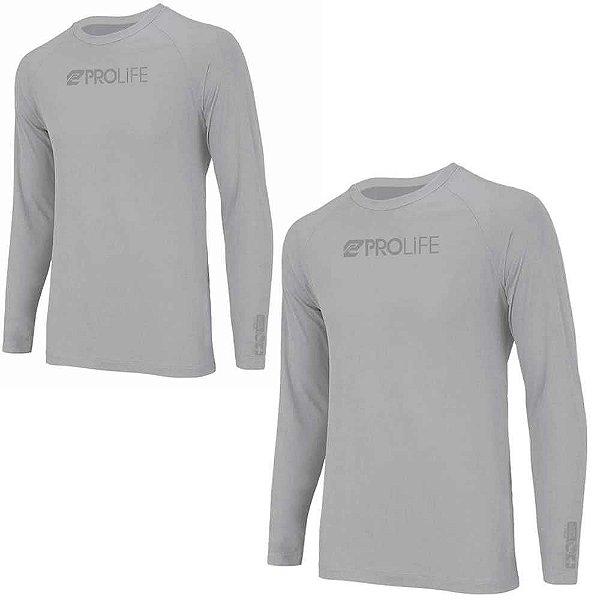 2 Camiseta Prolife Repelente Insetos Masculina Cinza - Tam P