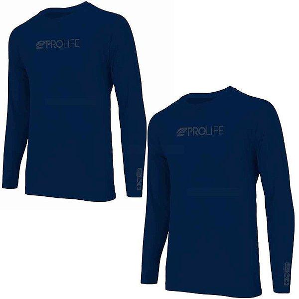 2 Camiseta Prolife Repelente Insetos Masculina Marinho Tam G