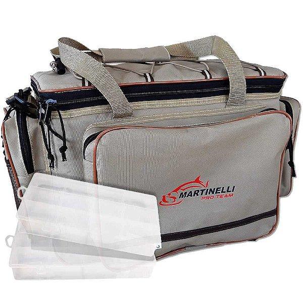 Bolsa de Pesca Martinelli Pro-Team G - Cor: bege+ 2 Estojos Emifran EP-040