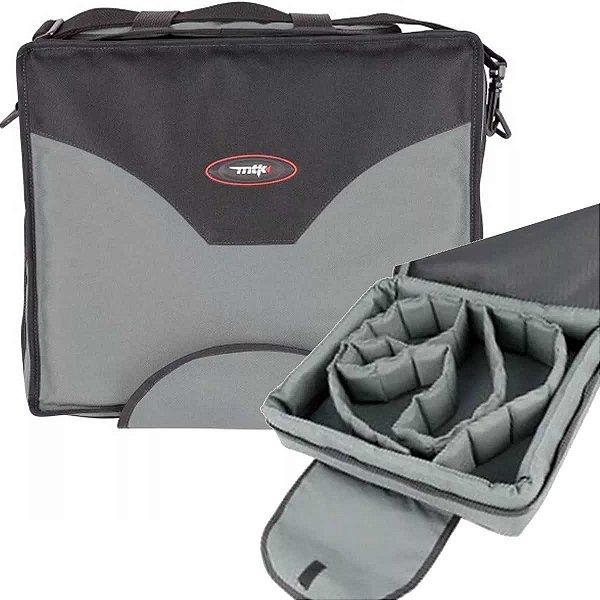 Bolsa porta carretilhas multipla MTK - comporta até 9 carretilhas - cor chumbo/preto