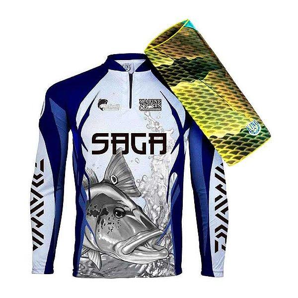 Camiseta de Pesca King - Saga - Tam: 02 - M... + Breeze King Pro Tucunaré - Proteção UV (Máscara de Prot... + Boné Preto Saga...