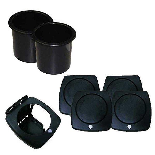 2 Porta Copos p/ Embutir Preto + 4 Dobráveis Preto