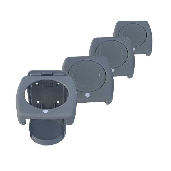 Kit 4 Porta-copos dobráveis Luxo Cinza