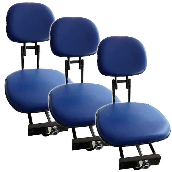 Kit 3X Cadeira giratória estofada Piloteiro dobrável Azul.