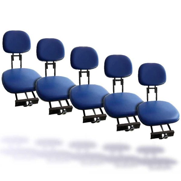 5 Cadeiras giratória estofada Pesca Piloteiro dobrável Azul
