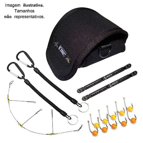 Kit Protetor Carretilha, Chicote, Anzol, Cordão de Segurança e Enrolador Vara Telescópica