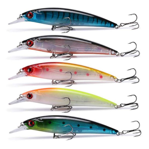 Kit de 5 iscas Raptor-X 100 cores: Azul tigrada, silver, CB, YS, Azul c/ pintas